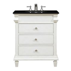 This slender, elegant 3-drawer black-granite-topped vanity will add both luxury and aesthetic appeal to your home or office bathroom. Its sleek, traditionally-styled lines and authentic black granite top are enhanced by the antique white hand-painted cabinet, an under-mount porcelain sink, incised carved, tapered legs and brushed steel knobs. Plus, the 3 full-extension drawers give you plenty of extra space for all your bathroom essentials. Authentic black granite counter top. Pre-drilled…