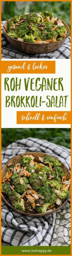 Roh veganer Brokkolisalat mit Tahini-Dressing