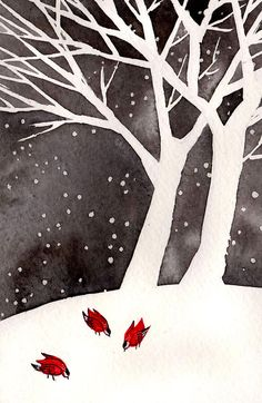 Winter Birds  4x6 Original Painting watercolor and by reneenault