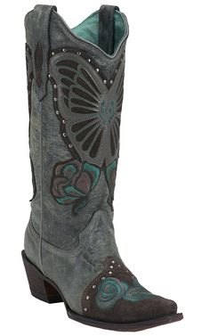 Corral® Ladies Grey Crater Blue Jean Butterfly & Rose Embroidered Snip Toe Western Boots