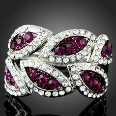 Arinna Amethyst Leaf 18K White Gold GP Swarovski Crystals Ring   eBay