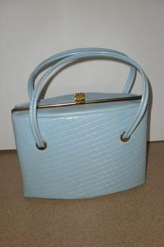 Vintage 1950s 1960s Baby Blue Purse Pocketbook Jackie O Mad Men  Retro Bag