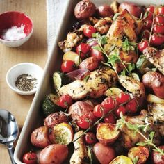 One-Tray Chicken and Veggie Bake (use Sweet Potatoes instead of Red Potatoes)