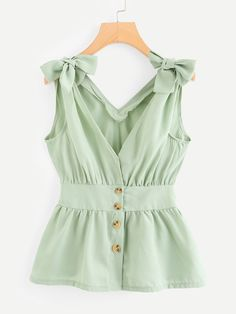 To find out about the Plus Button Knot Ruffle Hem Top at SHEIN, part of our latest Plus Size Tank Tops & Camis ready to shop online today! Plus Size Tank Tops, Green Fashion, Blouse Designs, Fashion News, Fashion Fashion, Vintage Fashion, Fashion Dresses, Couture, Clothes For Women