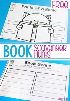 These book scavenger hunts are a great way to learn about the parts of a book and book genres. Kids will love searching through their favorite books! book genres Kids will love these book scavenger hunts! School Library Lessons, Library Lesson Plans, Elementary School Library, Library Skills, Elementary Schools, Kindergarten Library Lessons, Kindergarten Scavenger Hunt, Class Library, Kindergarten Reading