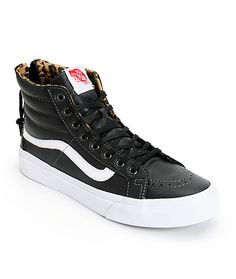 These high top shoes are made with a slim design and a Black leather upper that contrasts the leopard print padded lining for a wildly fresh look.