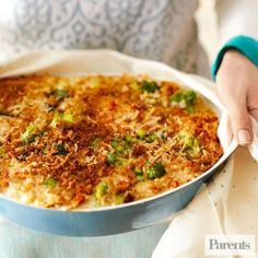 Broccoli and Fontina Orzo Bake  Cover this irresistible comfort-food dish when it comes out of the oven, and whisk it to the potluck within a half-hour. It tastes best when it's warm.