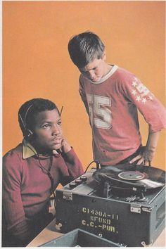 Using the record player in the school library!