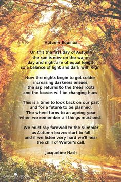 Poem: Autumn Equinox by Jacqueline Nash Nature Poem, First Day Of Autumn, Cold Rain, Tree Roots, Sabbats, Equinox, Light In The Dark, Poems, How To Get
