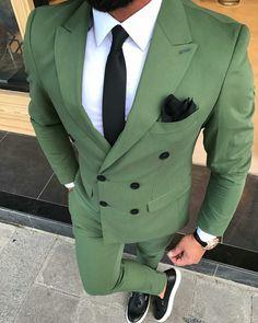 Clean fit from ________________________________ Blazer Outfits Men, Polo Outfit, Green Suit Men, Formal Attire For Men, Mode Costume, Designer Suits For Men, Mens Fashion Suits, Men's Fashion, Fashion Clothes