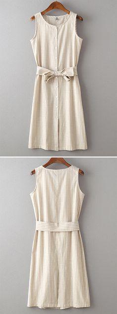 Beige Sleeveless Stripe Buttons With Belt