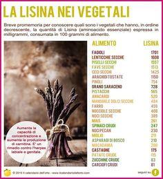 ✔ Gli 8 aminoacidi essenziali: la Lisina nei vegetali