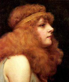 An Auburn Beauty - Oil on canvas - John William Godward (1861-1922) - c. 1895