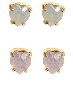 2x Heart Stone Stud Earrings