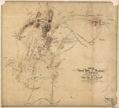 Sketch of the second battle of Winchester, June 13th, 14th, and 15th, 1863 / Shows positions of Confederate troops and names of some residents. Relief shown by hachures. Pen-and-ink and pencil (some col.) on 2 sheets of tracing paper pasted together, and mounted on cloth. Similiar to the map reproduced in the Atlas to accompany the official records of the Union and Confederate Armies, 1891-95, pl. 43, no. 3. LC Civil War maps (2nd ed.), H155 In pencil ...