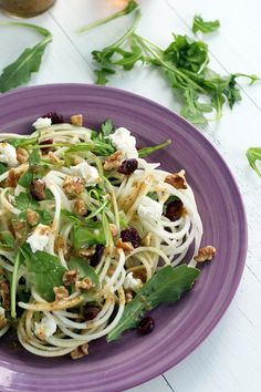 Kohlrabi Green Apple Noodle Salad with Goat Cheese, Dried Cranberries, & Walnuts in a Honey-Dijon Dressing
