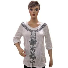 Women's Top Blouse, White Black Embroidered Cotton Crepe Blouse Shirt Tunic with Boat Neck  $19.99