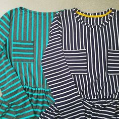 One for me, one for you 😊 Another #M7561, this time striped versions like on the pattern envelope. The teal stripe is for my sister in law and while looking for stripe fabric for her found some for myself too 😁. After making the red one I posted previously, decided I don't really like boat necks, so for myself I used the #larktee to make my bodice. Hopefully nobody gets dizzy from looking at all these stripes 😂  #mccallspatterns #M7561 #grainlinestudio #larktee #sewersofinstagram…