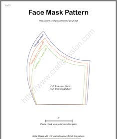 Diy Face Mask Sewing Pattern With Filter Free Sewing, Sewing Patterns Free, Free Pattern, Sewing Diy, Diy Mask, Diy Face Mask, Sewing Hacks, Sewing Projects, Neoprene Face Mask