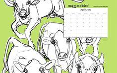 April 2012 Marimekko desktop calendar.