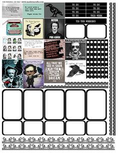 Edgar Allan Poe free printable planner stickers for the MAMBI Happy Planner or Erin Condren Life Planner vertical.