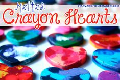 Melted Crayon Hearts with Free Printable Valentines - Harvard Homemaker