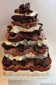 Triple Chocolate Ruffle Cake White Dark Ribbons