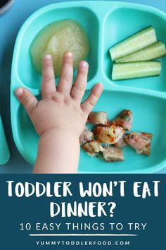 Kids Meals Do you have a toddler who won't eat dinner? If this is happening in your house, here are a few simple things to try to improve the situation. Toddler Wont Eat, Picky Toddler Meals, Toddler Lunches, Kids Meals, Toddler Food, Toddler Dinners, Baby Meals, Foods For Picky Toddlers, Dinner Ideas For Toddlers