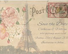 Printed Paris Save the Date Cards- Postcards Tour Eiffel France- Early Wedding Invitations + Envelopes Shabby Chic Post Cards Rustic Vintage
