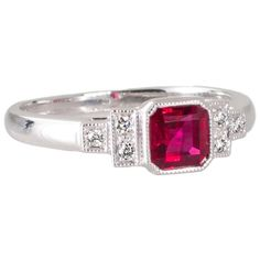 Square Cut Ruby and Diamond Ring 1