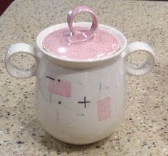 "Vintage MD Century Metlox Vernon Ware ""Tickled Pink"" Lidded Sugar Bowl 