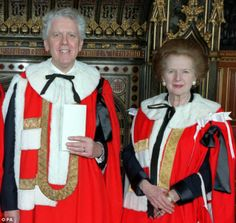 Sir Charles Powell with Baroness Thatcher as the former Prime Minister's senior Downing Street aide took his Lords seat