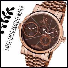 Boyfriend Bracelet Watch This watch is a high-end watch with a beautiful color combination. It has a brown face and rose gold toned hardware. I love large-faced watches and this one won't disappoint because although the diameter of the face is large, it is fairly thin which allows it to be of sturdy quality but not clunky or too bulky. It is new with tags and still wrapped in the original packaging as can be seen in the pictures. Joshua and Son's Accessories Watches