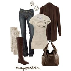 Fall Knits --- Jeans, brown cardigan, oatmeal colored leg warmers and sweater with an asymmetrical neckline. Dark brown boots and bag. Casual Mode, Look Casual, Look Chic, Casual Fall, Fashion Moda, Cute Fashion, Look Fashion, Womens Fashion, Fall Fashion