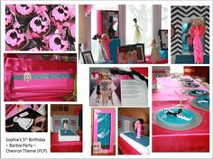 Sophia's 5th Birthday Party - Chevron Theme - Barbie Runway Show - Bringing in the the traditional Barbie color palette of Hot Pink and Malibu Barbie Blue with the original Chevron stripes from Barbie's first bathing suit. Recreating the fashion show runway Barbie doll party I enjoyed as a child in the late seventies, this party brought in the old with the new and was a dream come true.