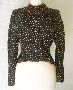 Vintage Lolita Lempicka Silk Polka Dot Blouse Shirt. by casalupe, $98.00
