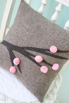 SALE - Cherry Blossoms - Whimsical PILLOW COVER - 14 Inch