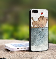 Cat and Fish Kiss Cute - Print on Hard Cover For iPhone 4/4S Case and iPhone 5 Case (Black, White, Clear Colour Case) $14.99