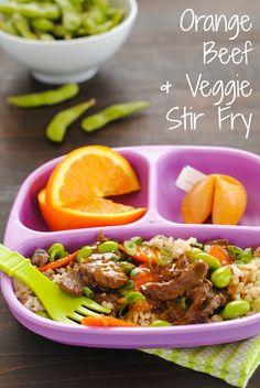 Orange Beef  Veggie Stir-Fry - Kid-friendly takeout fake-out at home! | foxeslovelemons.com