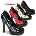 Pleasure-10, 5.25 Inch High Heel Peep Toe Pump with Lace Trim and Bow