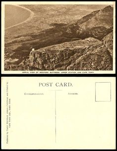 South Africa Old Postcard Aerial View Western Buttress Upper Station & Cape Town Picture Postcards, Old Postcards, Table Mountain, Vintage Pictures, Aerial View, Cape Town, South Africa, Westerns, History