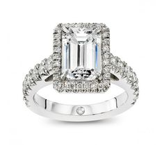 Micro-Pave - Engagement Rings - Emerald Cut - The Larisa Setting With Shoulders