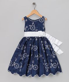 Navy Embroidered Dress - Toddler & Girls   Daily deals for moms, babies and kids