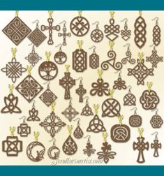 Scroll Saw Patterns :: Handy items :: Jewelry & stands :: Set of 24 Celtic design Pendants & matching Earrings -