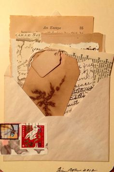 A stuffed envelope artwork collage, old papers and notes, maps, tags. Mixed Media Journal, Mixed Media Collage, Collage Art, Old Paper, Paper Art, Paper Collages, Altered Books Pages, Postage Stamp Art, Envelope Art