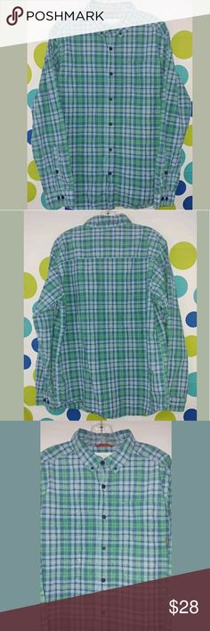 Men's Columbia Blue Green Plaid Size Medium Shirt Hello and thank you for checking out my items! We list new items every single day so check back often for great deals!  Mens Columbia Long Sleeve Button Front Shirt  Size Medium  100% Cotton  Blue and Green Plaid  23 inches across chest from pit to pit  30 inches from shoulder down to end Columbia Shirts Casual Button Down Shirts