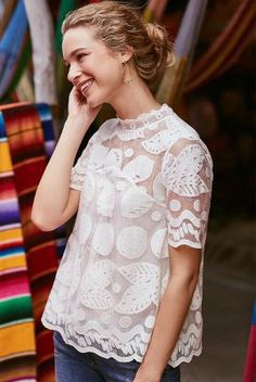 Lily Lace Blouse with all of your shorts and colorful pants and tan and teal sandals or heels for a night out Lingerie Look, Inspiration Mode, Lace Tops, Passion For Fashion, Spring Summer Fashion, Mantel, Ideias Fashion, Dress Up, Blouse Dress