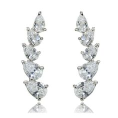Sterling Silver Pear-cut Cubic Zirconia Climber Crawler Earrings   Overstock.com Shopping - The Best Deals on Cubic Zirconia Earrings