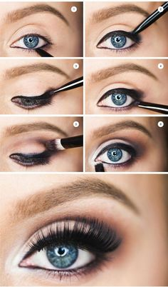 Step by step - How to Make Blue Eyes Pop!! Love this tutorial ... #blueeyemakeup #easyeyemakeup