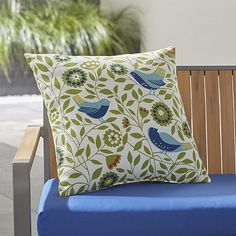 """Birds 20"""" Sq. Outdoor Pillow   Crate and Barrel"""